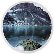 Frozen Mountain Lake Round Beach Towel