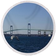 Newport Bridge Round Beach Towel by Robert Nickologianis