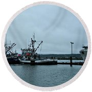 Newport Fishing Boats Round Beach Towel