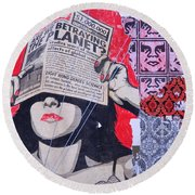Round Beach Towel featuring the photograph Shepard Fairey Graffiti Andre The Giant And His Posse Wall Mural by Kathy Barney