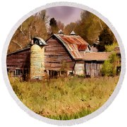 Newton Township Barn Round Beach Towel