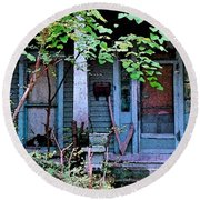 Next Door To Aunt Agnes Round Beach Towel by Patricia Greer