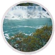 Niagara - American Falls In Spring Round Beach Towel
