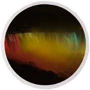 Round Beach Towel featuring the photograph Niagara Falls A Glow by Dave Files