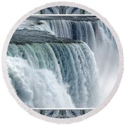 Niagara Falls American Side Closeup With Warp Frame Round Beach Towel