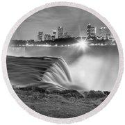 Niagara Falls Black And White Starbursts Round Beach Towel by Adam Jewell