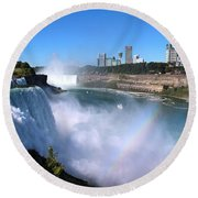 Niagara Falls Double Rainbow Round Beach Towel