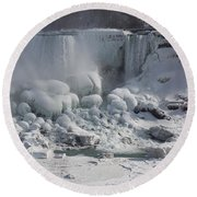 Niagara Falls Ice Buildup - American Falls New York State U S A Round Beach Towel