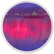 Niagara Falls Pretty In Pink Lights. Round Beach Towel