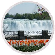 Round Beach Towel featuring the photograph Niagara - Springtime Tulips by Phil Banks