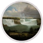 Niagra Falls By Alvan Fisher Round Beach Towel