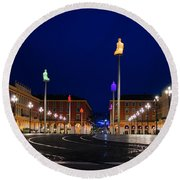 Round Beach Towel featuring the photograph Nice France - Place Massena Blue Hour  by Georgia Mizuleva