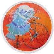 Round Beach Towel featuring the painting Niece Sonia by Marina Gnetetsky