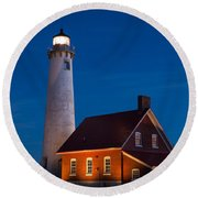 Night At The Lighthouse Round Beach Towel by Patrick Shupert