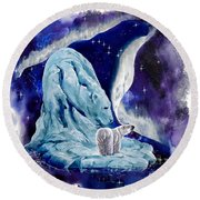 Round Beach Towel featuring the painting Night Bear by Sherry Shipley