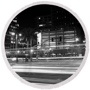 Night Blurs Round Beach Towel