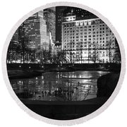 Night Central Park Lake H Round Beach Towel