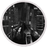 Night City Scape Round Beach Towel