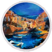 Night Colors Over Riomaggiore - Cinque Terre Round Beach Towel by Elise Palmigiani