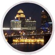Round Beach Towel featuring the photograph Night Descends Over Louisville City by Deborah Klubertanz