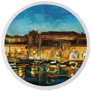 Night In Dubrovnik Harbour Round Beach Towel