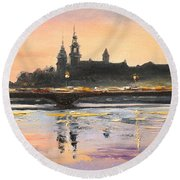Night In Krakow Round Beach Towel
