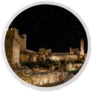 Night In The Old City Round Beach Towel by Alexey Stiop