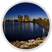 Night Light In Barrie Round Beach Towel