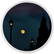 Night Lights Round Beach Towel by Lydia Holly