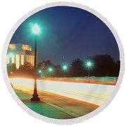 Night, Lincoln Memorial, District Of Round Beach Towel