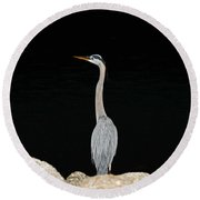 Night Of The Blue Heron 2 Round Beach Towel