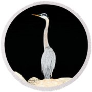 Night Of The Blue Heron  Round Beach Towel