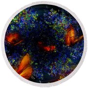 Round Beach Towel featuring the digital art Night Of The Butterflies by Olga Hamilton