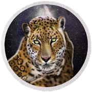 Fourth Of The Big Cat Series - Leopard Round Beach Towel
