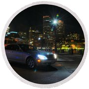 Night Out In Boston Round Beach Towel