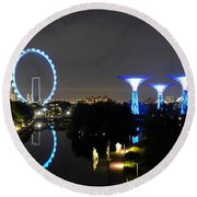 Night Shot Of Singapore Flyer Gardens By The Bay And Water Reflections Round Beach Towel