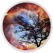 Night Sky Landscape Art By Sharon Cummings Round Beach Towel