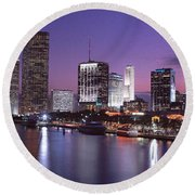 Night Skyline Miami Fl Usa Round Beach Towel by Panoramic Images