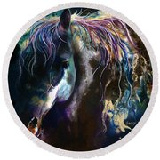 Night Stallion Round Beach Towel
