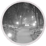 Night Storm New York Round Beach Towel