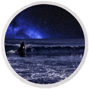 Night Surfer Round Beach Towel