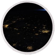 Night Time Satellite Image Of Northern Round Beach Towel