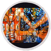 Night Village Rain Round Beach Towel