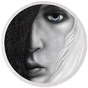 Round Beach Towel featuring the painting Night Vision by Pat Erickson