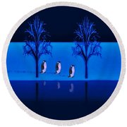 Night Walk Of The Penguins Round Beach Towel