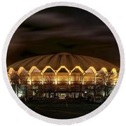 night WVU basketball Coliseum arena in Round Beach Towel