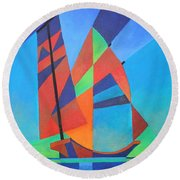 Round Beach Towel featuring the painting Nightboat by Tracey Harrington-Simpson