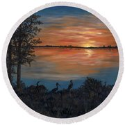 Nightfall At Loxahatchee Round Beach Towel