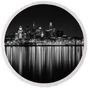 Nightfall In Philly B/w Round Beach Towel