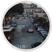 Nightfall Over Monterey Cannery Row California 5d25143 Round Beach Towel